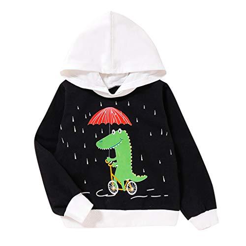 feiXIANG Kleinkind Hoodie Jungen Mädchen Kleidung Baby Sweatshirt Karikatur Dinosaurier Druck Blusen mit Kapuze (Schwarz 1,90)
