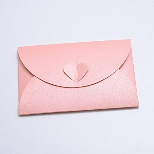 Rosa 10 (10 Rosa Herz-Umschläge aus glitzerndem Pearl-Karton, C6 = 162 x 114 mm, z.B. für Einladungen zur Hochzeit, Verlobung, als Liebesbrief)
