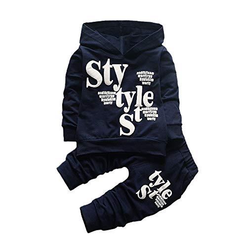 LABIUO Jungenbekleidungsset Baby Hoodie Oberteil Legere Hosen Enger Kinderanzug(Marine,3T)