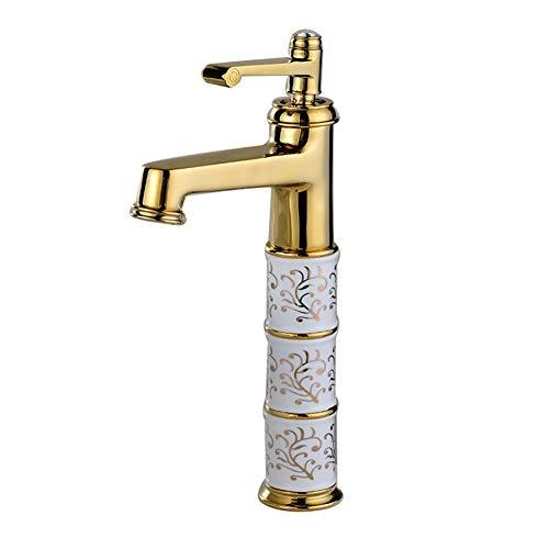 XIEFAUCET Wasserhahn Becken Gold Alles Bronze Heiß Und Kalt Waschbecken Haushalt Steigerung Europäischer Stil Aufsatzbecken (Color : Golden Section)