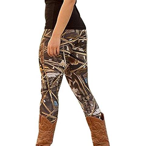 Tongshi Moda Mujer Skinny Impreso Stretch Pantalones Leggings (Negro, S)