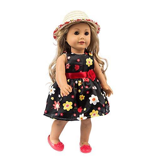 Puppenkleidung , YUYOUG Niedliche Bedruckte Kleid Party Rock + Hut für 18 Zoll unsere Generation American Girl Puppe Zubehör Mädchen Spielzeug Weihnachten Geburtstagsgeschenk (Schwarz) (18-zoll-american Mädchen Puppe)