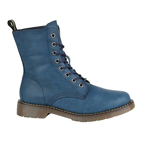 Damen Schuhe Coole Worker Boots Kinder Outdoor Stiefeletten Profil Sohle 144394 Blau Cabanas 36 Flandell - Blau Cabana