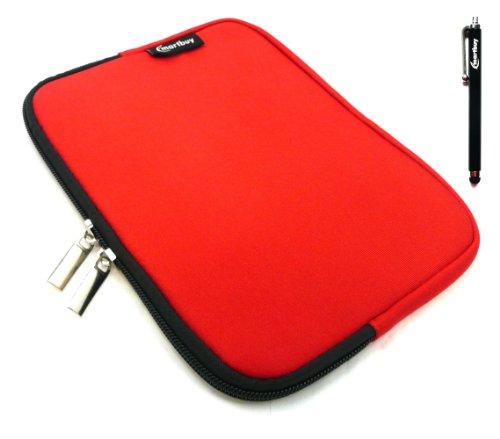 Emartbuy® Schwarz Stylus + Rot Wasser Resistant Neoprene Weich Zip Case Cover Tasche Hülle Sleeve Für I.onik TP - 1200QC 7.85 Inch Tablet (8 -Zoll-Tablet )