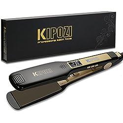 KIPOZI Piastra Capelli Professionale Larga Digitale con Display LCD Doppia Tensione Piastra Per Capelli,Piastra Keratina (Nero)