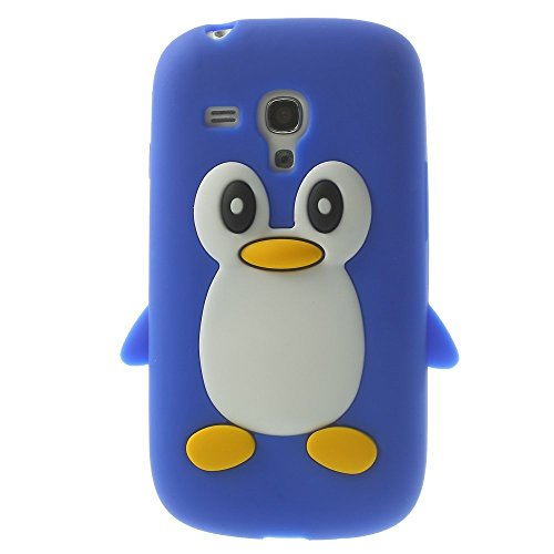 Samsung Galaxy S3 Mini Soft Silikon Case Pinguin Cute 3D Jelly Hülle Cover Blau