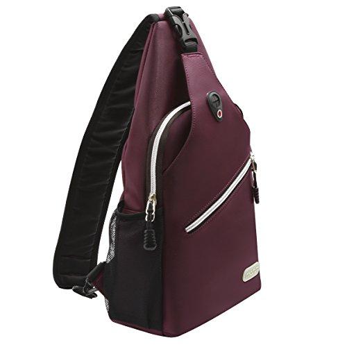 MOSISO Brusttasche Sling Rucksack Schultertasche, Polyester Crossbody Umhängetasche für Männer Frauen Mädchen Jungen, Weinrot