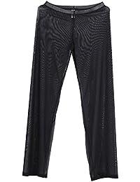 Tiaobug Herren Pants Unterwäsche lässige Männer Lange Hose schwarz weiß  Sport Yoga Hose transparent f0c2563445
