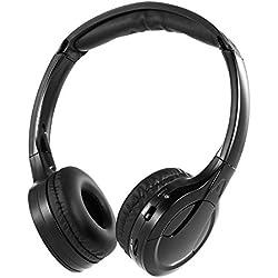 Docooler Sans Fil Infrarouge, Stéréo Casque Sans Fil Infrarouge pour Voiture IR Infrared Wireless Car Headphones Câblé Écouteur Double Canal pour Lecteur de DVD Dans La Voiture