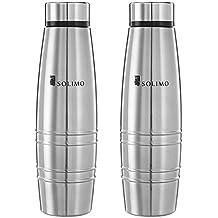 Amazon Brand - Solimo Sparkle Stainless Steel Fridge Water Bottle, 1000 ml, Set of 2