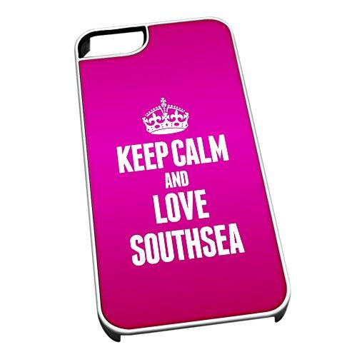Weiß Schutzhülle für iPhone 5/5S 0595Pink Keep Calm und Love bezogene Lehnstuhl Southsea