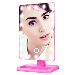 House of Quirk Lighted Makeup Mirror Illuminated & Portable LED Vanity Mirror, 20 Dimmable LED, 180° Rotation (Hot Pink)