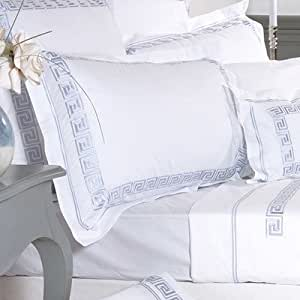 Taie d'oreiller en grec Couleur: crème-Couleur: miel Taille 1682/fils Boudoir: 30 x 40 cm 220 fils/cm ²