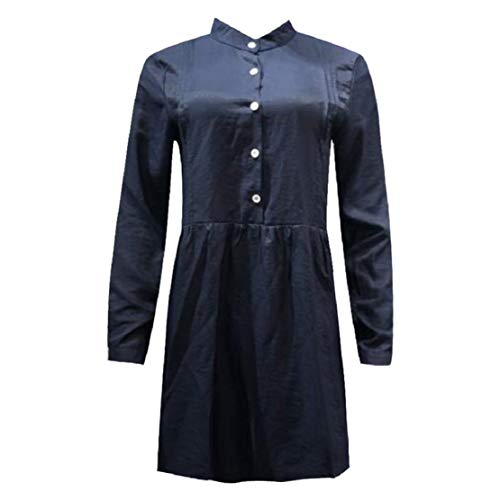 Damen Revers Langärmliges Lässige Langes Hemdkleid Chiffon-Kleid locker Shirtkleid Oberteil Kleid Minikleid