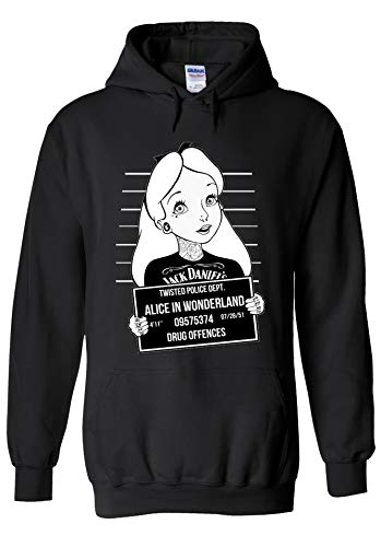 Disney Alice in Wonderland Mugshot Novelty Black Men Women Unisex Hooded Sweatshirt Hoodie-M -