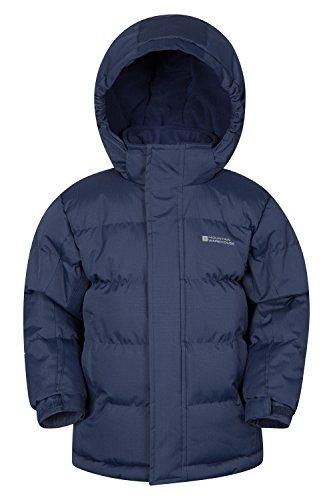 Mountain Warehouse Snow Kinder gefütterte jacke mädchen jungen regendicht winter übergangsjacke warm Fleece wattiert Marineblau 104 (3-4 Jahre)