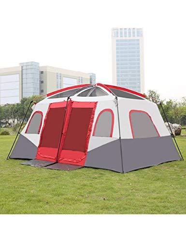 MDZH Zelt Tragbares Wasserdichtes Kabinenzelt Für 8-10 Personen Mit 1 Veranda Und 2 Räumen. Große Belüftung Für Familien Camping Wandern Angeln -