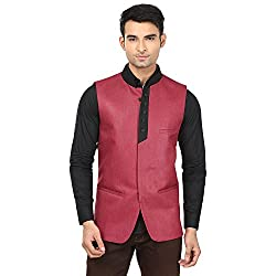 QDesigns Mens Nehru Jacket (WJ_12_Red & Black_46)