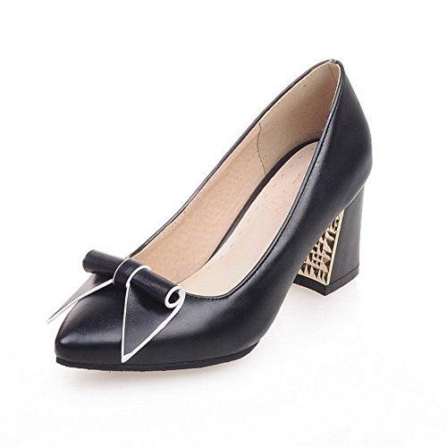 Damen Mittler Absatz Blend-Materialien Rein Schnalle Spitz Zehe Pumps Schuhe, Weiß, 44 VogueZone009