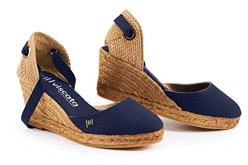VISCATA Barcelona Damen Sagaro, Blau - Azul - Azul Marino - Größe: 40 EU M (Ankle Wedge Blaue Strap)