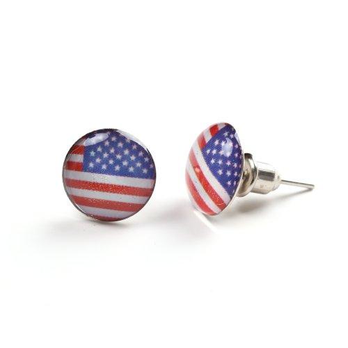 Kostüm Log (USA Fahne Amerika Flagge Unisex Ohrringe Klein Studs (America)