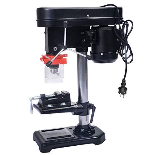 GOPLUS Perceuse à Colonne Hauteur de la Table Réglable 5 Vitesse pour Choisir Perceuse Etabli Inclinaison de la Table de Perçage Profondeur de Forage Max 50mm