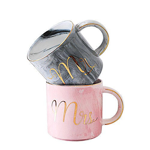 Bestcatgift Tazas De Mrs Ml Valentine's Mr Cups Gift And Couples 400 WeddingMarried Shower Engagement Marble Bridal Day ceramic Gold For Café eHIY9EbDW2