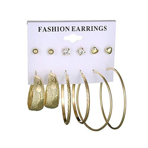 MOTOCO Mode Ohrringe Ohrring Set Kombination von 6 Sets von großen Kreis Ohrringe(Gold)
