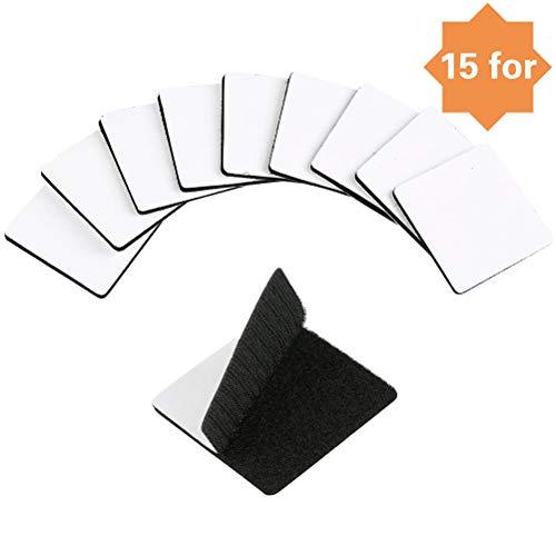 YANSHON Nastro Adesivo in Velcro 15 Paia Fasce in Velcro Adesivi Biadesivi Strisce Tessuto Biadesivo Fissaggio Sicuro per Lavori Manuali e DIY, 6 * 6CM Nero