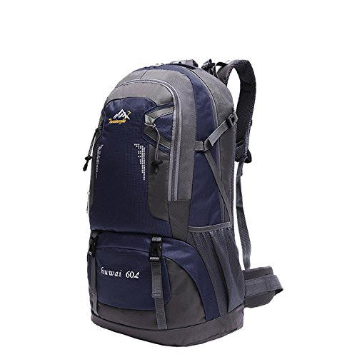 HWJF 60L im Freien Schulterbeutel große Kapazität wasserdichte kletternde Beutelkursteilnehmerfreizeit-Computerbeutel Dark Blue