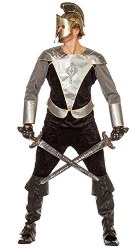 Karneval Klamotten Ritter-Kostüm Herren schwarz-silber Mittelalter-Kostüm Kreuzritter Herrenkostüm Erwachsene Größe 52 (Silber Stulpen Kostüm)