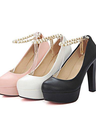 WSS 2016 Chaussures Femme-Bureau & Travail / Décontracté-Noir / Rose / Blanc-Gros Talon-Talons / Confort / Bout Arrondi-Talons-Polyuréthane white-us8 / eu39 / uk6 / cn39