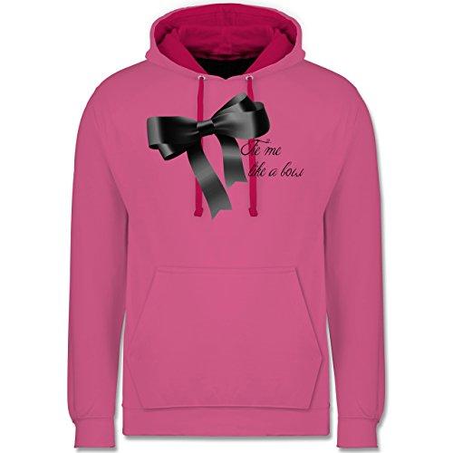 Statement Shirts - Schleife - Tie me up like a bow - Kontrast Hoodie Rosa/Fuchsia