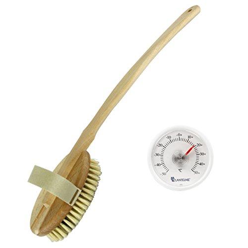 Holz Badebürste mit Naturborsten Stiel geschweift mit herausnehmbarem Bürsten Einsatz und Universal Thermometer