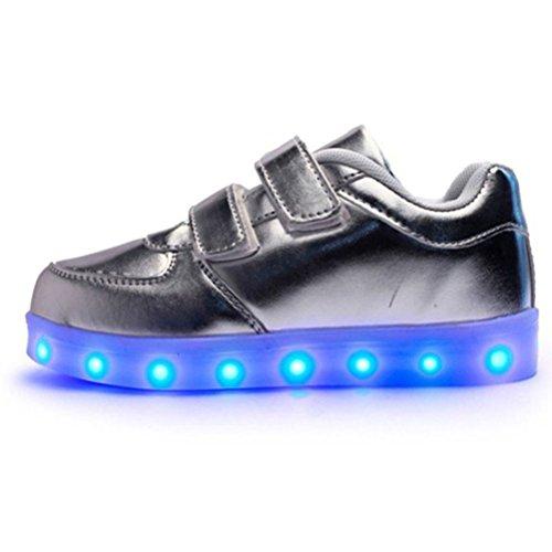[Présents:petite serviette]JUNGLEST® 7 couleurs Kid Garçon Fille de recharge USB Chaussures LED Light Up Sport lumineux cl Argent