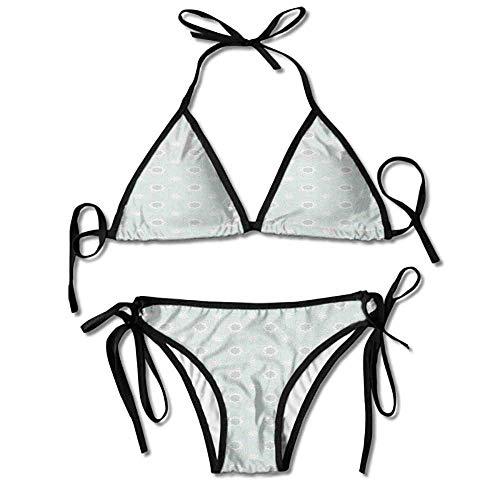 Two Pieces Bikini Swimsuit,Classical White Star Shapes Sexy Bikini 2 Pieces