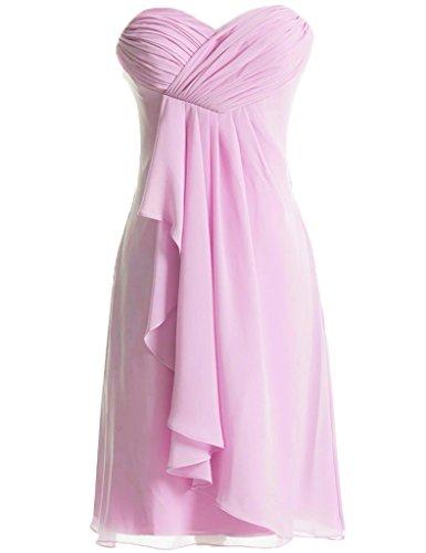 JAEDEN Schulterfrei Brautjungfernkleider Kurz Chiffon Festkleid Partykleid Cocktailkleid Hellrosa
