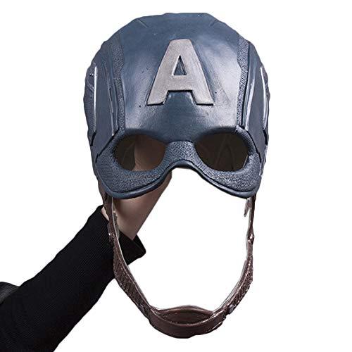 NDHSH Captain America Maske Helm Halloween Requisiten Kopf Cosplay Maske Kostüm Erwachsene Weihnachten Maskerade Karneval Maske,Blue-59cm to 62cm