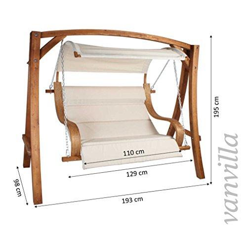 Hollywoodschaukel ALBARELLA Gartenschaukel aus Lärche Holzfarbe TEAK / Stoff Weiss Holzschaukel Lärchenholz - 2