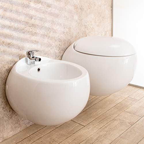 Import For Me Sanitari Sospesi Wind Design in Ceramica WC con Copri Vaso+Bidet