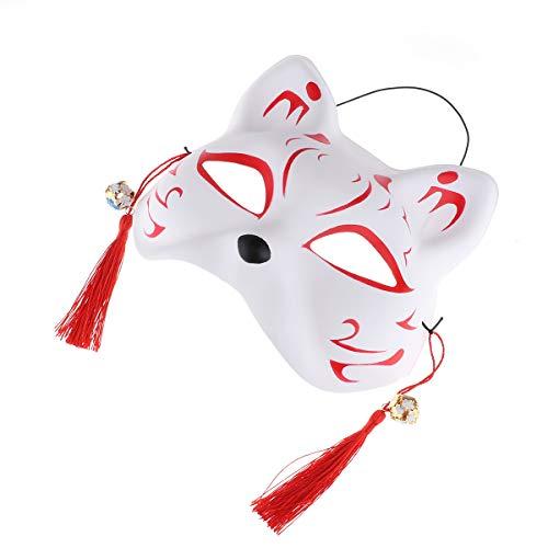 Masken Katzenmaske Halbmaske Katze Maske Karneval Fasching Gesichtsmaske mit Quasten Glocken Halloween Party Maskerade Verkleidung Kostüm Zubehör Rot E One Size ()