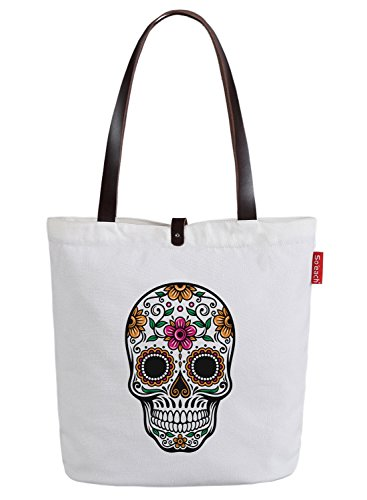 So'each Women's Floral Skull Graphic Top Handle