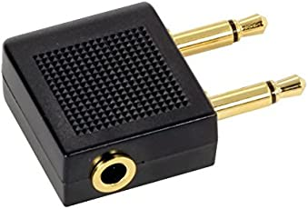 CABLESETC Airplane Headphone Audio Adapter Converter 3. 5mm Stereo to Dual Mono
