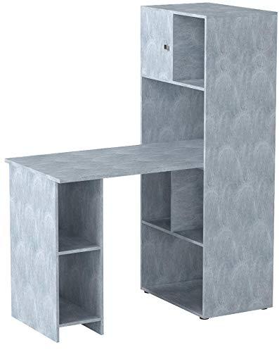 VICCO Schreibtisch Regalkombination 144cm Höhe Arbeitstisch Regal Ordner Akten Büro PC-Tisch - perfekt für das Arbeitszimmer (Beton)