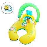 Towinle Flotador de la Nadada de la Madre y del bebé con el toldo Inflable Bebé Asiento Juguete del Anillo de la natación de la Persona Doble para los niños