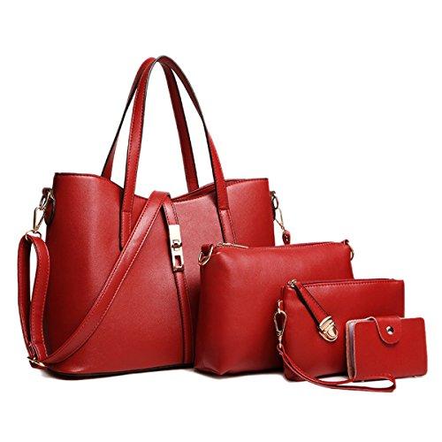 Donna Nuovo Stile Moda Set Di Tre Pezzi Tendenza Utilità Temperamento Spalla Singola Red