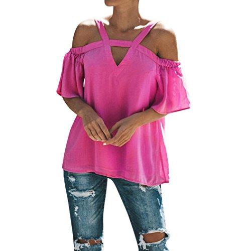 TUDUZ Damen Sommer Kurzarm Schulterfrei Tops T-Shirt V-Ausschnitt T-Shirt Bluse(XXL,Pink)