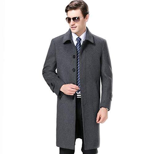 QKDSA Wollmantel Herren Herbst und Winter Mantel Business Jacke Dicke warme Windjacke (Farbe : Gray, größe : L) (Herren Mäntel Erbse)