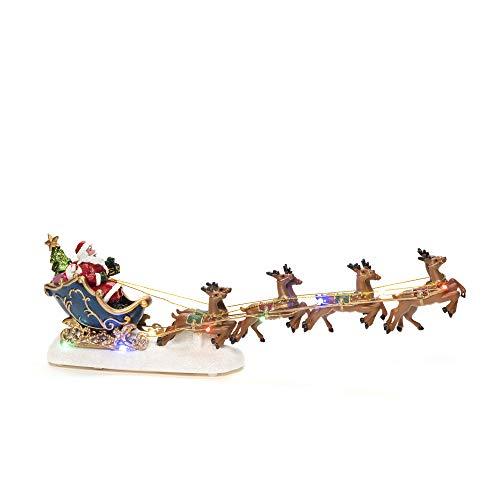 Konstsmide Weihnachtsbeleuchtung Weihnachtsmann im Schlitten mit Rentier/Weihnachtsdeko/Batteriebetrieben: 3xAAA (exkl.)/Weihnachtsszene, Bunte Dioden