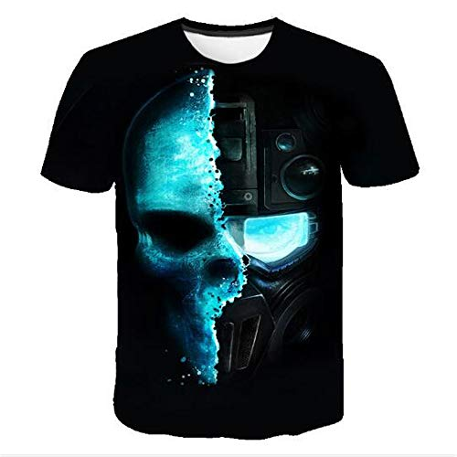 Herren Neuheit T-Shirt 2019 Sommer Casual Kurzarm 3D Digital Gedruckt T Shirt Tops Premium,3D Halloween Print - B Schwarz - A 4XL (2019 In York Halloween New)